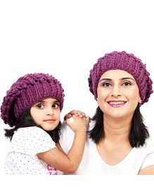 Magic Needles Girls Netted Beanie Mother & Daughter Cap Set - Purple