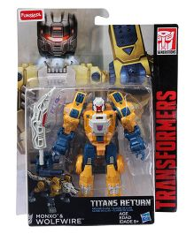 Transformers Funskool Titans Return Monxo And Wolfwire Figure Yellow And Blue - 14 cm