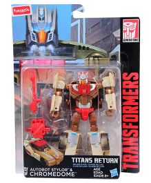 Transformers Funskool Titans Return Autobot Stylor And Chromedome Figure Brown Cream - 14 cm