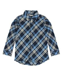 FS Mini Klub Full Sleeves Checks Shirt - Navy Blue