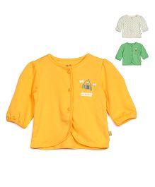FS Mini Klub Full Sleeves Vest Pack of 3 - Green Yellow White