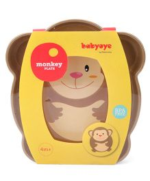 Babyoye Monkey Character Plate - Brown