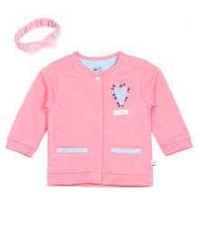 FS Mini Klub Full Sleeves Jacket With Headband - Pink