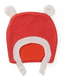 Babyoye Winter Cap - Dark Peach And White
