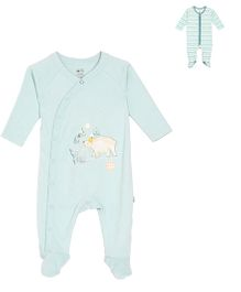 FS Mini Klub Full Sleeves Footed Sleep Suit Pack Of 2 - White & Cyan