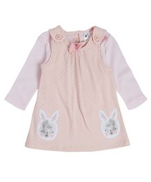 FS Mini Klub Pinafore Frock With Inner Top Bunny Embroidery - Pink