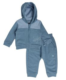 FS Mini Klub Full Sleeves Hooded Sweat Jacket And Bottoms - Blue