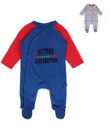 FS Mini Klub Full Sleeves Sleepsuit Pack Of 2 - Blue & Multicolor