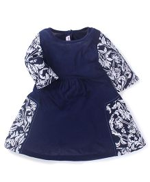 Babyoye Full Sleeves Floral print Dress - Indigo Blue