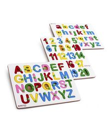 Ubesto 3D Wooden Jigsaw Puzzle Alphabets And Numbers - Pack Of 3