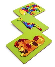 Ubesto 3D Wooden Jigsaw Puzzle Elephant Lion Giraffe - Pack Of 3