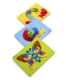 Ubesto 3D Wooden Jigsaw Puzzle Butterfly Caterpillar Snail - Pack Of 3