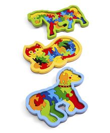 Ubesto 3D Wooden Jigsaw Puzzle Horse Dog Cat - Pack Of 3