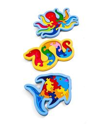 Ubesto 3D Wooden Puzzle Octopus Fish Snake - Pack Of 3