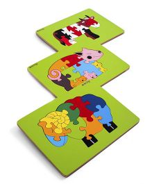 Ubesto 3D Wooden Jigsaw Puzzle Cow Pig Sheep - Pack Of 3