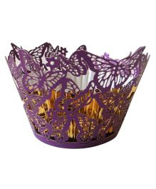 X'Mas By Shopaparty 12 Pieces Laser Cut Cupcake Wrappers Butterflies - Purple