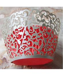 X'Mas By Shopaparty 12 Pieces Laser Cut Cupcake Wrappers - Silver