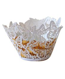X'Mas By Shopaparty 12 Pieces Laser Cut Cupcake Wrappers Butterflies - White