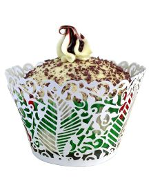 X'Mas By Shopaparty 12 Pieces Laser Cut Cupcake Wrappers Leaf - White