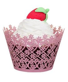 X'Mas By Shopaparty 12 Pieces Laser Cut Cupcake Wrappers Floral - Pink