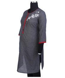 Kriti Three Fourth Sleeves Maternity Kurta - Grey