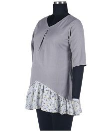 Kriti Ethnic Maternity Three Fourth Sleeves Tunic - Grey