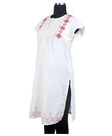 Kriti Ethnic Maternity Half Sleeves Kurta - White