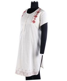 Kriti Ethnic Maternity Half Sleeves Kurta - Off White