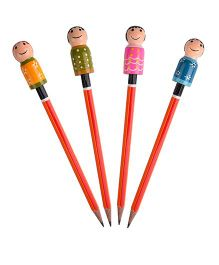 Playthings Pencil Tops Pack Of 4 - Multicolor