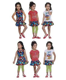 N - XT Printed Frock Tees Leggings Set - Multi Color