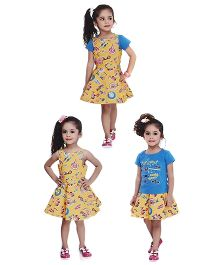 N - XT Sleeveless Printed Frock with Tee - Yellow Blue