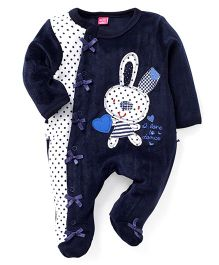 Wow Girls Full Sleeves Footed Romper - Navy Blue