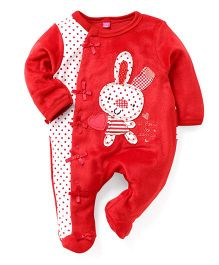 Wow Girls Full Sleeves Footed Romper - Red