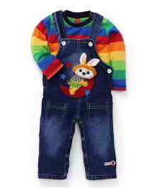 Wow Sleeveless Dungaree With Stripes Inner T-Shirt - Blue Multicolor