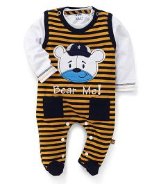 Wow Striped Romper With Inner T-Shirt Bear Patch - Gold & White