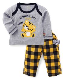 WOW Clothes Full Sleeves Tiger Print T-Shirt And Legging - Grey Yellow
