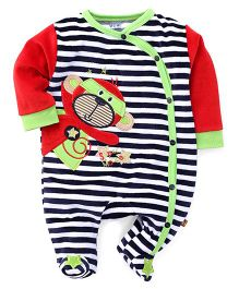 Wow Stripe Footed Romper Monkey Patch - Navy Red Green
