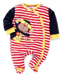 Wow Stripe Footed Romper Monkey Patch - Navy Red Yellow