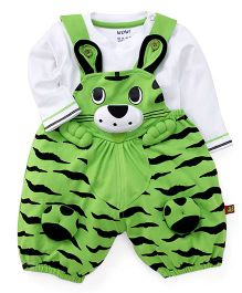 Wow Dungaree With T-Shirt Animal Design - White Green
