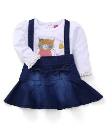 Wow Girl Denim Frock With Inner Tee Kitty Patch - Blue and White