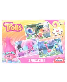 Frank Trolls 3 In 1 Jigsaw Puzzle Pink - 48 Pcs