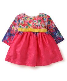 Yellow Duck Full Sleeves Floral Print Frock - Pink Blue