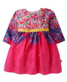 Yellow Duck Full Sleeves Floral Printed Frock - Pink