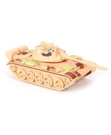 ToyFactory Metal Army Tank With Music & Light - Light Brown