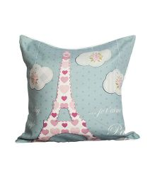 Little Nests Dreamy Destination Paris Cushion Cover - Pink Sea Green