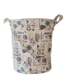 Little Nests Utility Basket Nautical Print - Off White