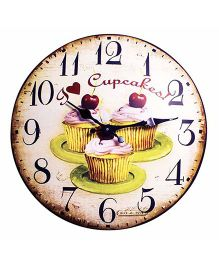 Little Nests Cupcake Theme Clock - Brown