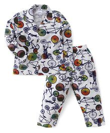 Ollypop Full Sleeves Cycle Print Night Suit - White
