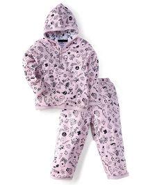 Little Darling Full Sleeves Hooded Winter Suit - Pink