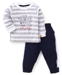 Ollypop Full Sleeves Stripes T-Shirt And Track Pants - White Grey Navy